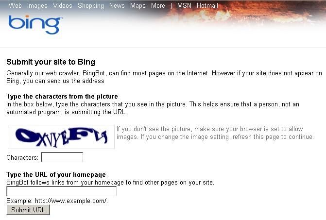 Soumettre un site à Bing
