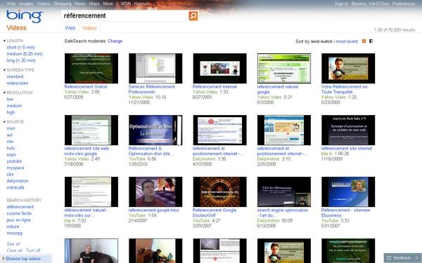 Référencement vidéo Bing